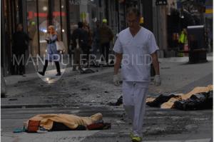 Manipulerad bild från terrordådet i Stockholm